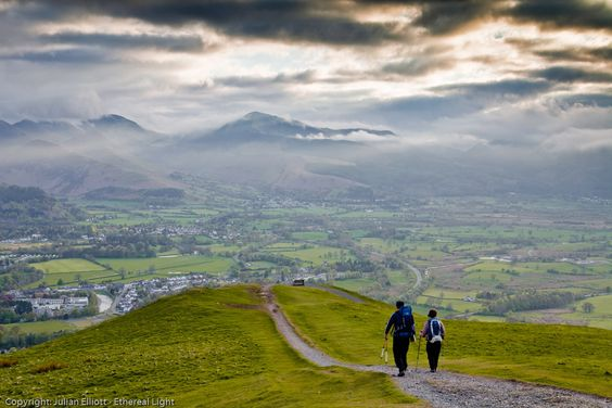 Walkers on Latrigg in the Lake District.