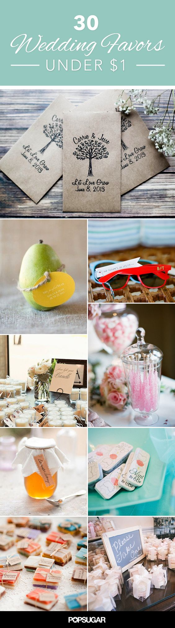 30 Wedding Favors That can Cost Under $1- I like the seed envelopes and lavender sachets!