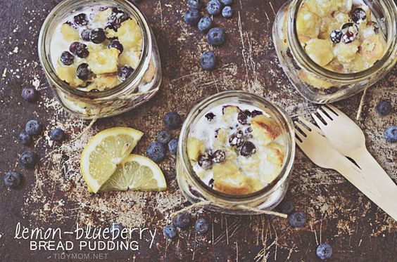 Lemon Blueberry Bread Pudding in a Jar