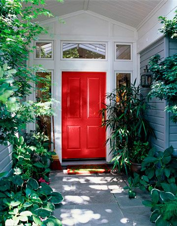 Front Door Paint Colors - Paint Ideas for Front Doors - House Beautiful Fine Paints of Europe Tulip Red 1001  The color chosen by designer Suzanne Tucker to paint the door in the previous slide.