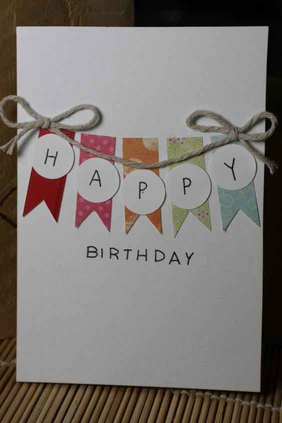 "Bright Handmade Birthday Card. (Note to self - could do ""Merry"" Christmas)"