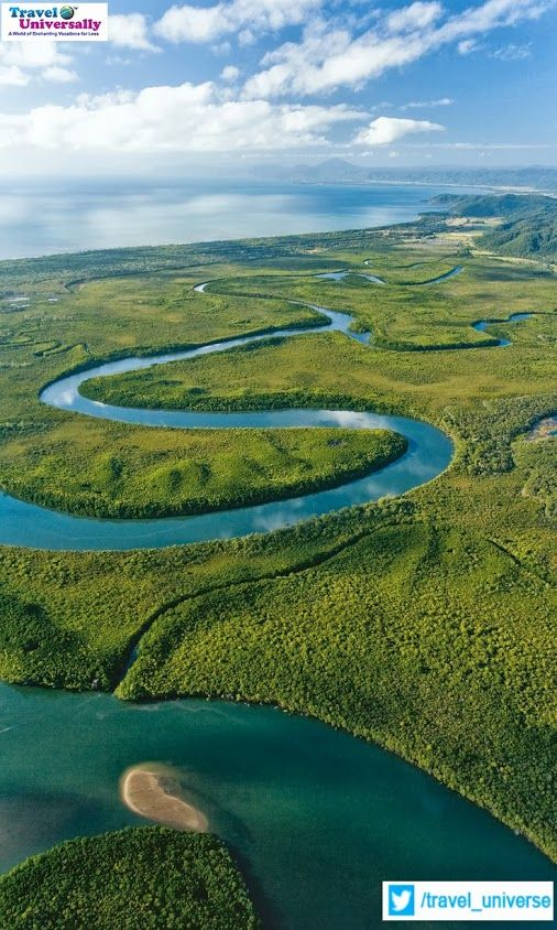 A beautiful aerial view of Daintree National Park, Tropical North Queensland, Australia