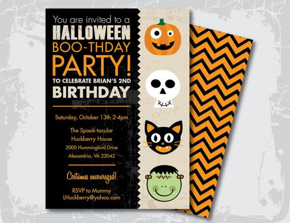 Halloween Birthday Party Invitation Like the style but would change the wording. --a