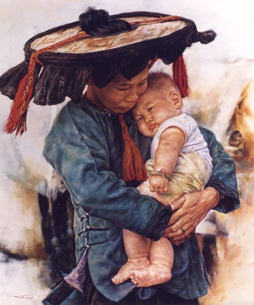 ARTIST WAI MING - Asian Oriental Chinese Fine Art Artwork Paintings Catalog (title: Mother Love)