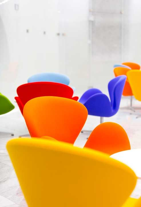 Swan chairs designed by Arne Jacobsen: