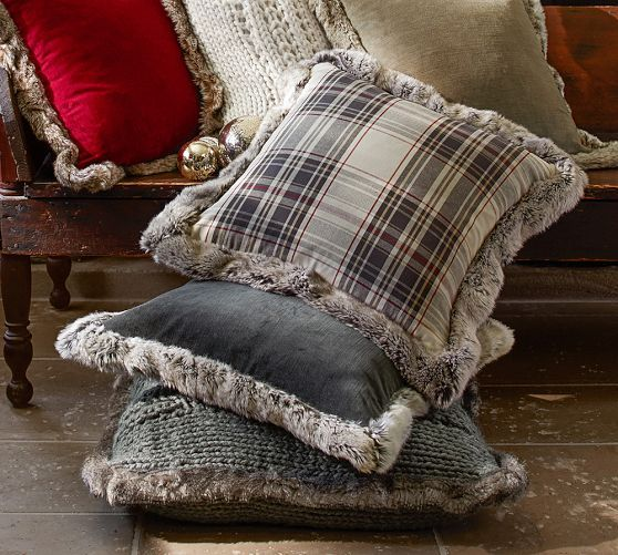 Jasper Plaid Pillow Cover With Fur Trim Pottery Barn