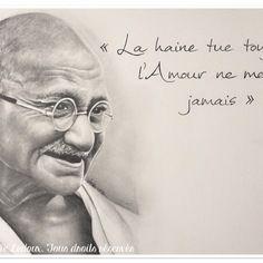 Portrait avec citation au crayon graphite de •• gandhi ••