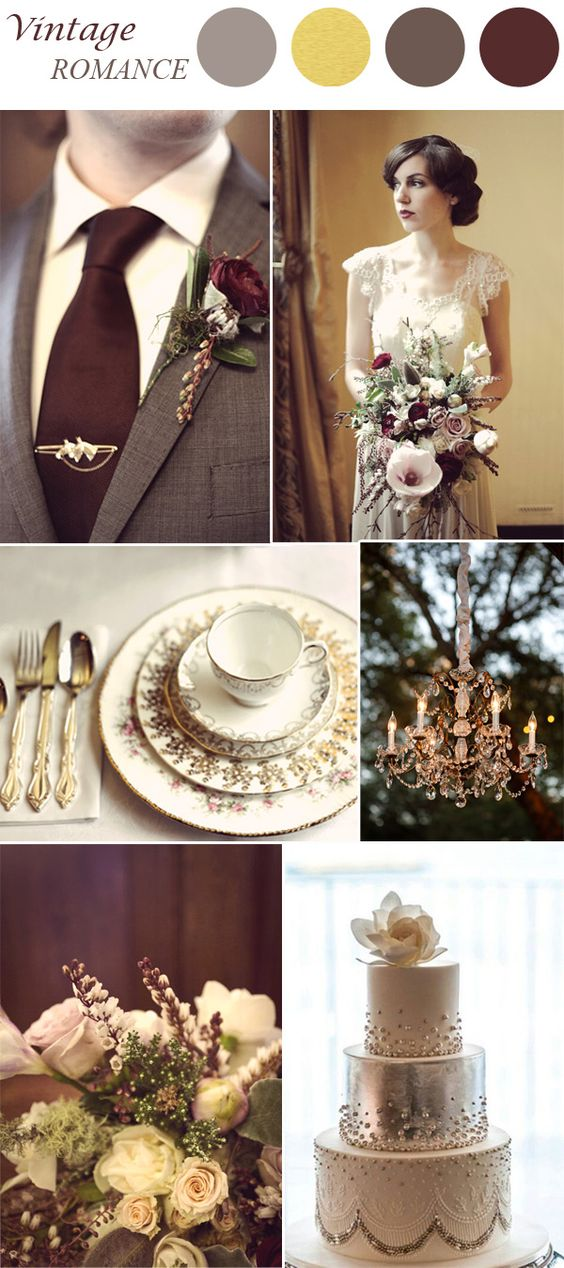 marsala and gold vintage wedding color ideas: