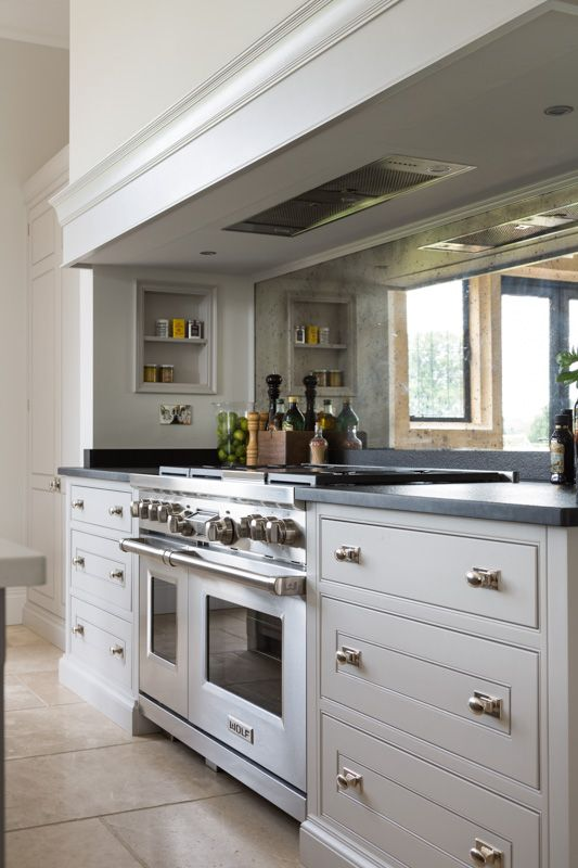 kitchen designs with range cookers. Mirrored Splashback  Wolf Range Cooker at The Grange Ascot Project Humphrey Munson splash back nice as are the in built shelves abov