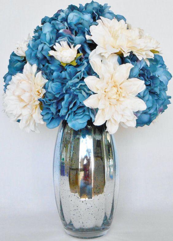 Artificial flower arrangement denim blue colored