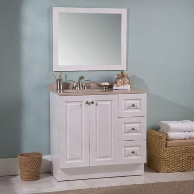 glacier bay bannister 36 5 in w vanity in white with colorpoint vanity top in cappuccino