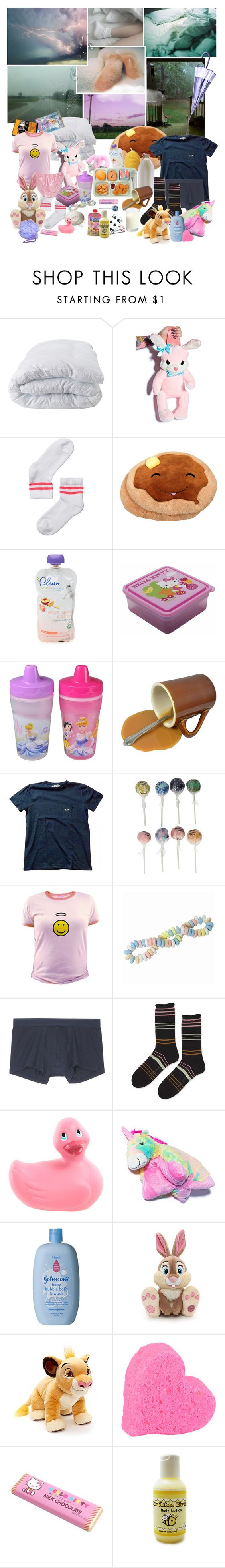 """Spring: Rainy cuddle day :]"" by sallimander ❤ liked on Polyvore featuring Soft-Tex, Monki, Hai, INDIE HAIR, Hello Kitty, The First Years, A.P.C., Lake, Cotton Candy and Sunspel"