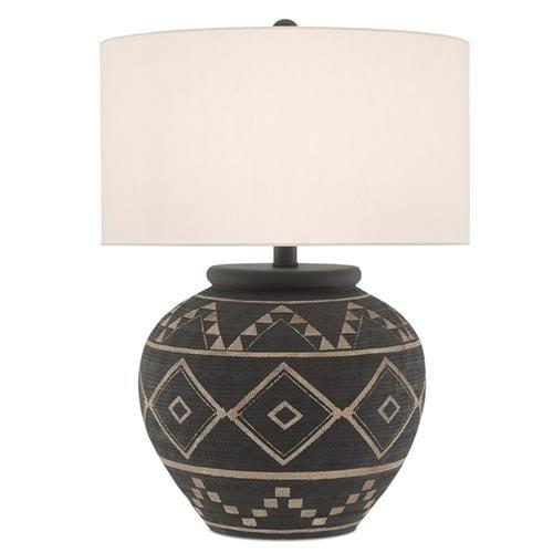 Tasha Global Bazaar Black Terracotta Geometric Patterned Table Lamp Tattoo Table Lamp Table Lamp