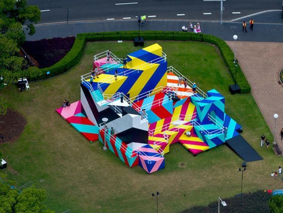 Dublin street artist, Maser, never fails to impress us. He has taken his bold large scale designs over to Sydney Festival as this year's artist-in-residence. His interactive installation 'Higher Ground' plays with perspective through the combination of graphics and architecture and creates a labyrinth or hyper-reality for people to explore. // https://www.youtube.com/watch?v=4wBHgKWviBM