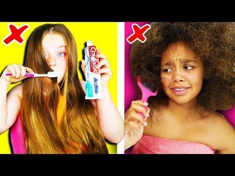 Girls Long Hair Vs Curly Hair Struggles Problems Youtube