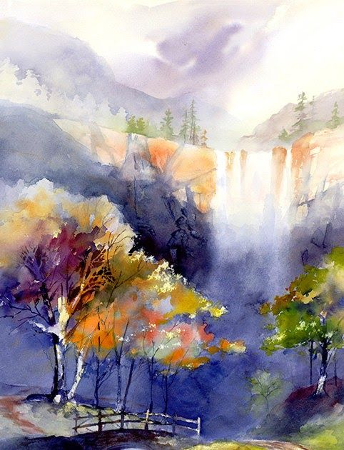 Landscape Art Watercolour Landscape Art Waterfall Art Fine Art