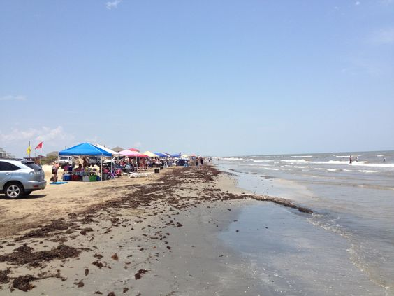 Campers All Along The Beach Bolivar Peninsula Galveston Texas 4th Of July 2017