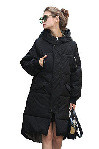 Schwarz Damen Mantel Lang Jacke Steppmantel cFK1lJT