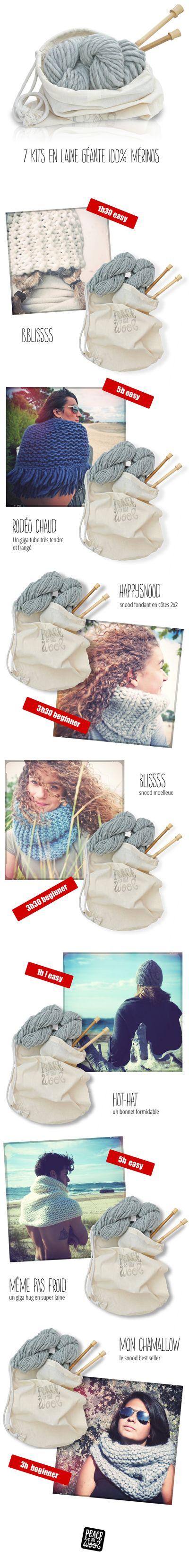 7 kits à tricoter avec de la laine géante 100% mérinos #knitting