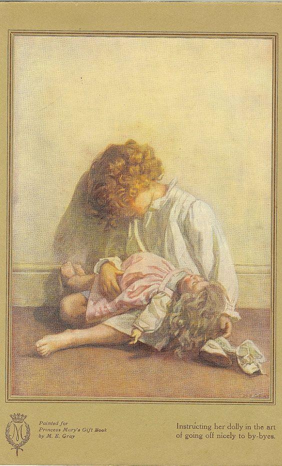 Antique 1918 niños de color se imprimen por ME Gray instruirla Dolly en el arte de ir fuera bien a por las despedidas. Rescatado de la princesa María de regalo Libro Princess Mary