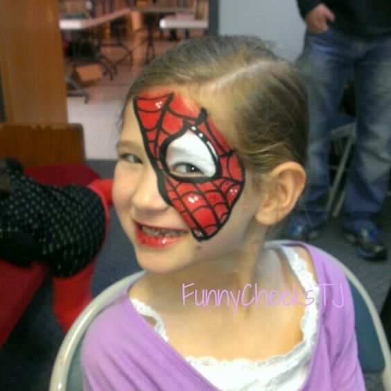 Spiderman half mask face painting at a Fall Harvest festival #FUMCDeSoto