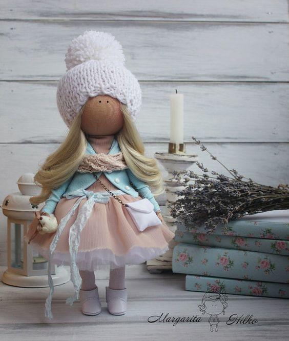 Soft doll handmade light pink Nursery decor от AnnKirillartPlace