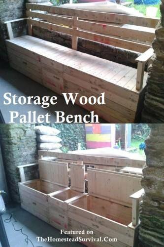 Banco de madera exterior hecho con pallets con hueco para for Bancos de jardin con almacenaje