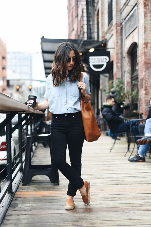 Chambray Shirt + Black Skinny Jeans + Brown Flat Espadrilles