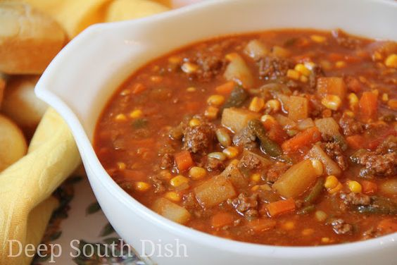 Ground beef veggie stew.  Mix and match veggies you have on hand.  Crockpot or stovetop on low.
