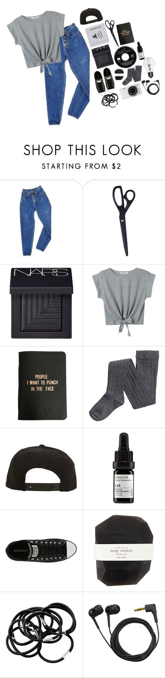 """Unique, just like everyone else"" by seals23 ❤ liked on Polyvore featuring PèPè, HAY, NARS Cosmetics, WithChic, Roark, Odacité, Converse, Nikon, Pelle and H&M"