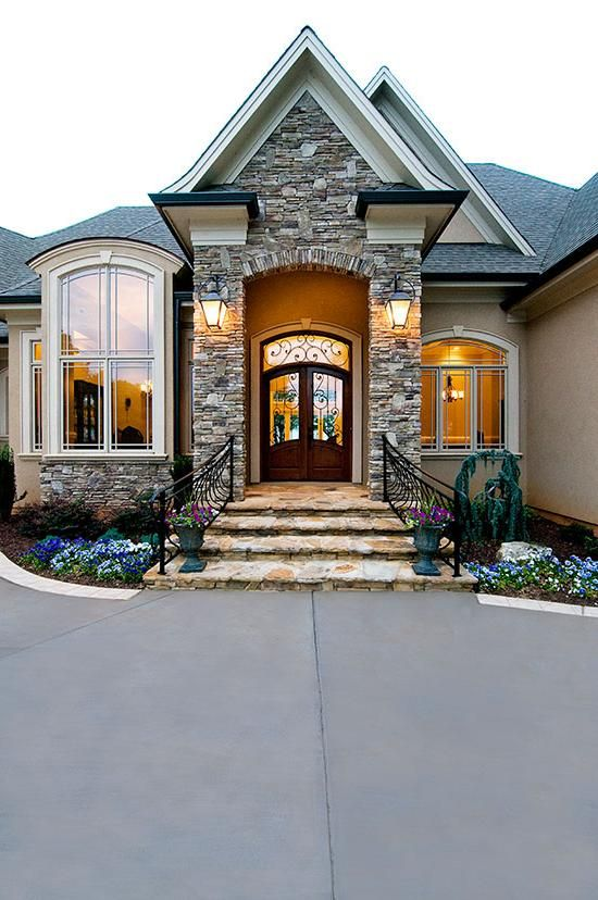 Beautiful front doors and entrance on pinterest Home exterior front design