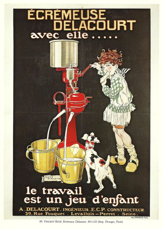 Vintage French FOOD, MILK advertisement poster - 1920s. $9.00, via Etsy.