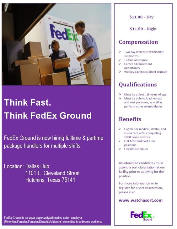 FedEx Ground needs Package Handlers in Hutchins, TX! Check them - fedex jobs