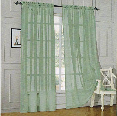 Elegant Comfort® 2 Piece Solid SHEER PANEL with ROD POCKET - Window Curtain 60-inch width X 84-inch Length - Sage Elegant Comfort http://www.amazon.com/dp/B00G1Y34GG/ref=cm_sw_r_pi_dp_qiG4ub1Z6WX4Q