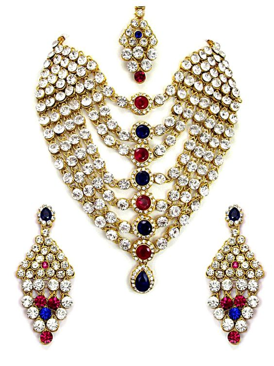 Ornate look gold plated brass metal #Necklace with stones,diamantes work. Item Code : JPD81403 http://www.bharatplaza.com/new-arrivals/jewellery.html