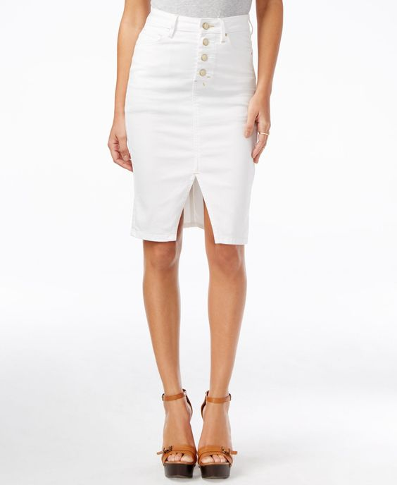 GUESS Luzy Button-Front Ever White Wash Denim Skirt | Denim Skirts ...