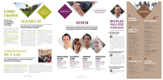 Création et Mise en page - graphisme du magazine - Bulletin de l'hôtel de ville - Ville de Roanne