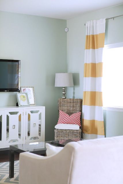 6th Street Design School: Cresthaven Living Room - yellow and white striped drapes: Living Room Ideas, Blue Living Rooms, Kitchen Design, Bedroom Colors Decor, Room Design, Kitchen Living Rooms, Bright Living Rooms