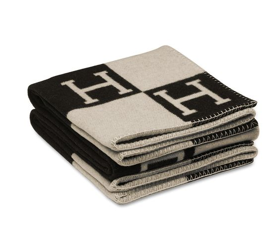 "Avalon Signature H blanket in ecru/black.85% wool, 15% cashmere. Measures 55"" x 69""."