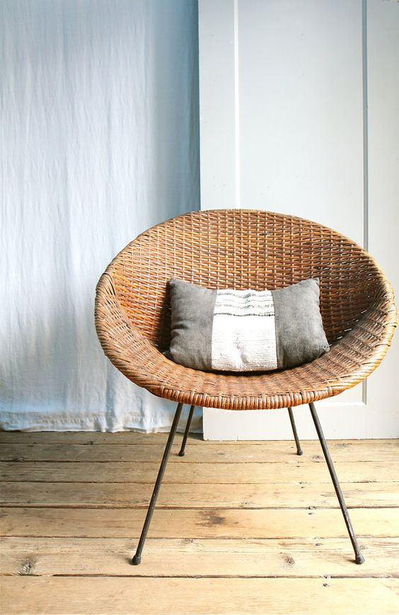 Vintage Mid Century Wicker Basket Chair Local Pickup