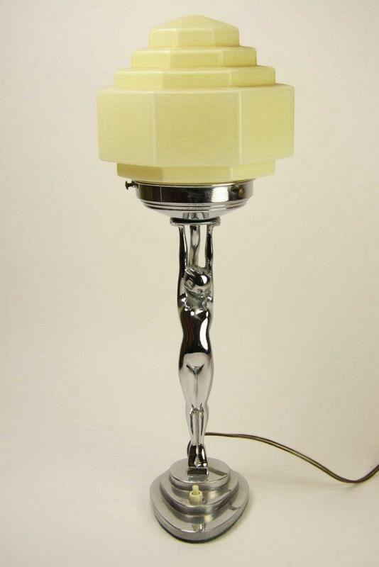 Original 1930s Art Deco Table Lamp in the Style of Frankart