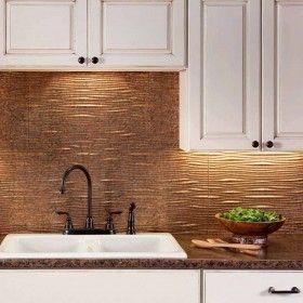 Fasade Backsplash Waves In Cracked Copper Copper Kitchen