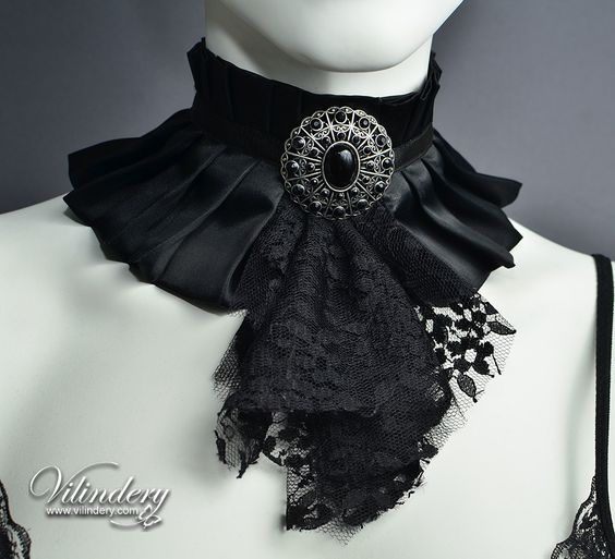 Black Gothic Victorian Choker Necklace Black Lolita by Vilindery