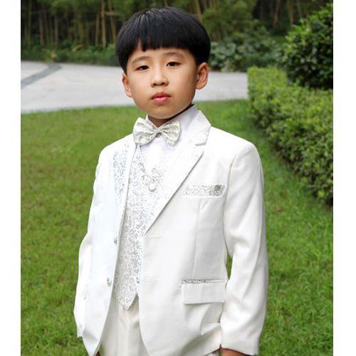 Designer Silver White Two Button Wedding Tuxedos Dress Suits For Boys SKU 132040