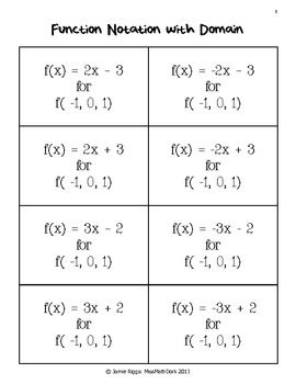 Worksheet Function Notation Worksheet set notation one color and tables on pinterest function matchup in this activity students match 8 functions to the appropriate notation