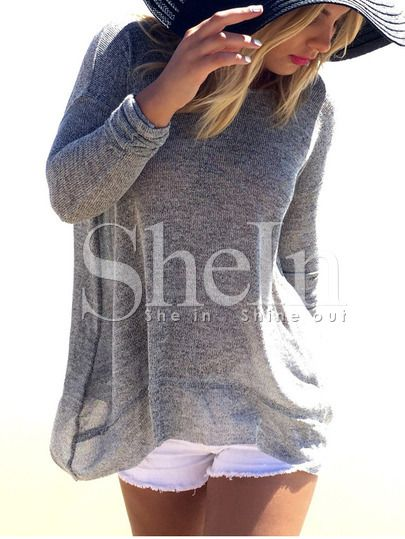 Grey Long Sleeve Backless Sweater -SheIn(Sheinside) Mobile Site