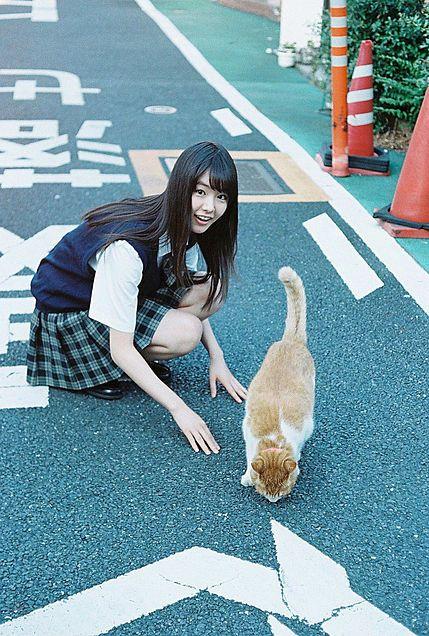 猫と戯れている唐田えりか