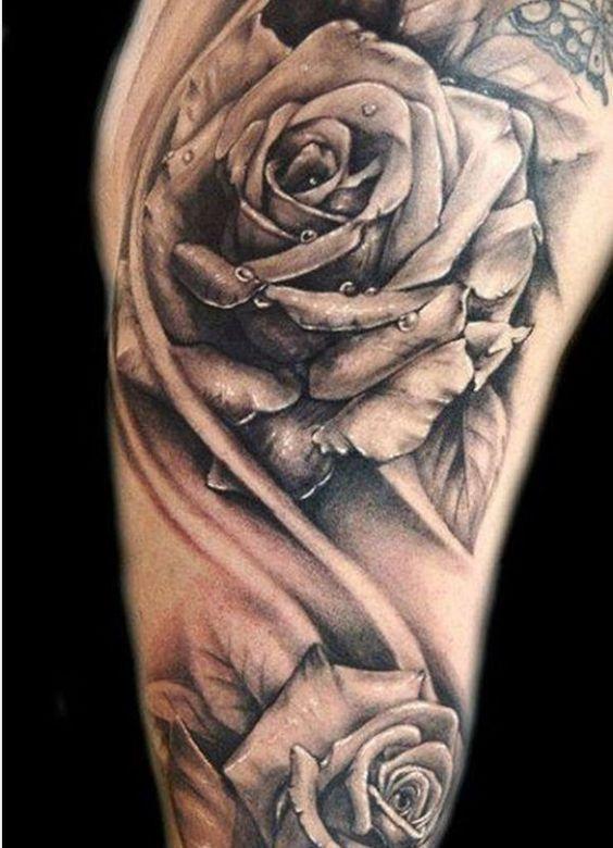 rose tattoo t towierung f r frauen tattoos pinterest rosen und tattoos. Black Bedroom Furniture Sets. Home Design Ideas
