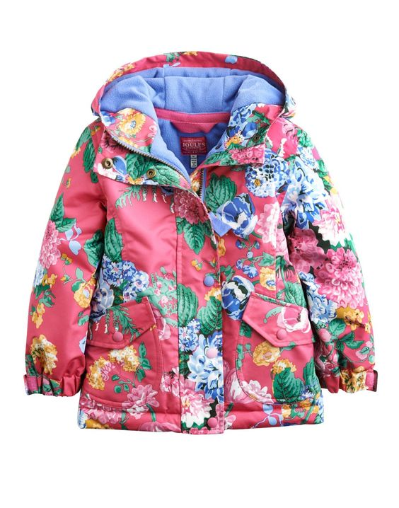 Joules Girls Waterproof Coat Hot Pink Floral. Our much-loved rain