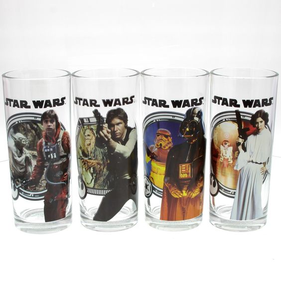 Collectible Star Wars drinking glass set. Four 10 ounce glasses featuring your favorite Star Wars heroes and villains, including Han Solo, Luke Skywalker, Princess Leia, Darth Vader and more. Hand wash only. From Vandor.